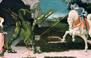 Saint George and the Dragon, Paolo Uccello, ca. 1460, The National Gallery, London/Corbis, Microsoft(R) Encarta(R) 98 Encyclopedia, (c) 1993-1997 Microsoft Corporation.